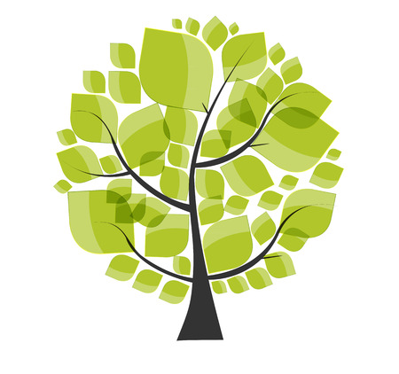Beautiful Green Tree on a White Background Vector Illustration.  Vector