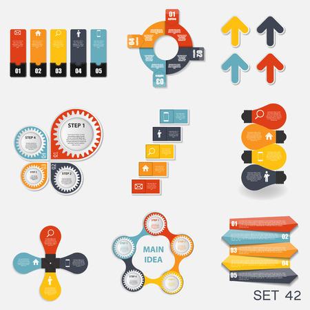 비즈니스 벡터 일러스트 레이 션에 대한 인포 그래픽 템플릿의 컬렉션