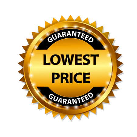 lowest: Lowest Price Guarantee Gold Label Sign Template Vector Illustration Illustration