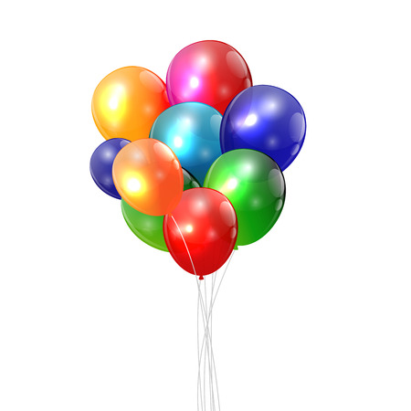 balloons party: Color Glossy Balloons Background Vector Illustration.