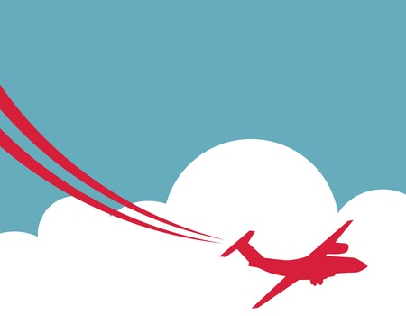 Flat. Retro Airplane Banner. Vector Illustration.  Vector