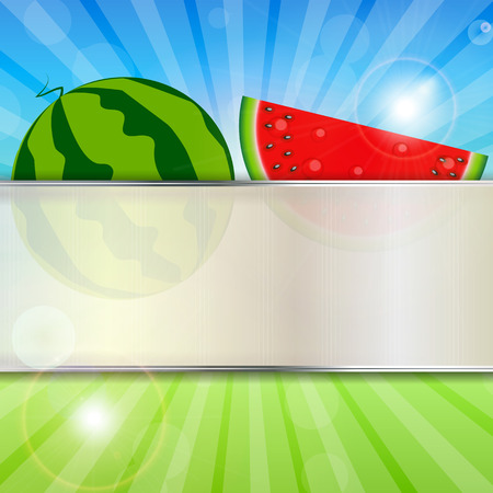 Abstract Natural Summer Background with Watermelon  Vector Illus
