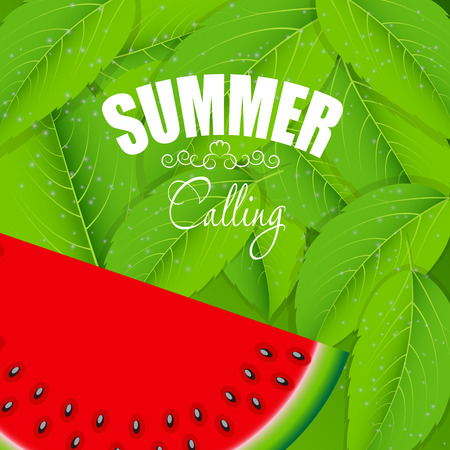 illus: Abstract Natural Summer Background with Watermelon  Vector Illus