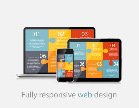 blog design: Fully Responsive Web Design Concept Vector Illustration