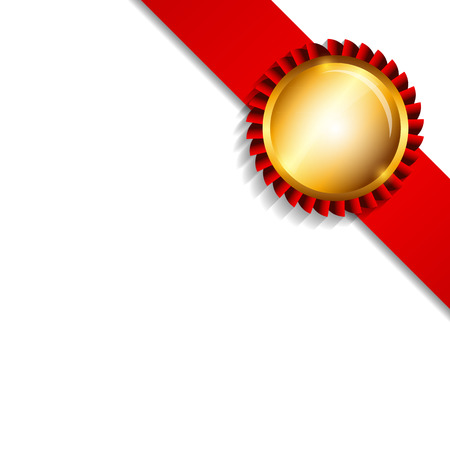 illustrati: Label with Ribbon Isolated on White Background Vector Illustrati