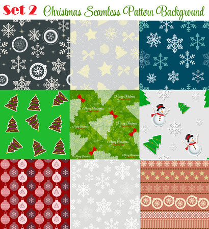illustrati: Winter Christmas New Year Seamless Pattern Set Vector Illustrati