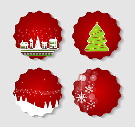 illust: Set of Labels with Christmas BALLS, Stars and Snowflakes, Illust Illustration