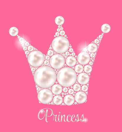 frog queen: Princess Crown Pearl Background Vector Illustration