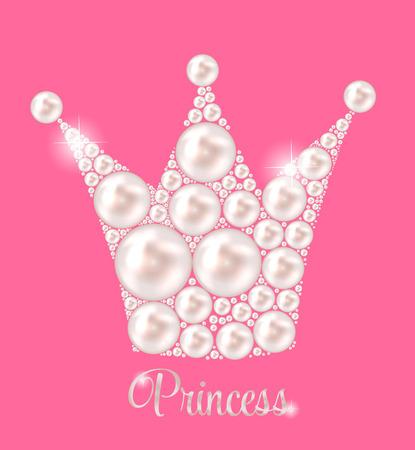 princess frog: Princess Crown Pearl Background Vector Illustration