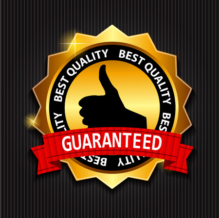 illust: Best Quality Guaranteed Gold Label with Red Ribbon Vector Illust