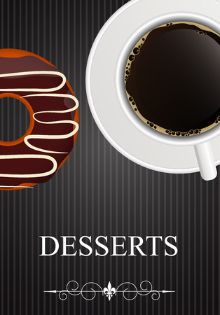 Vector Dessert Menu with Coffee and Donut Vector