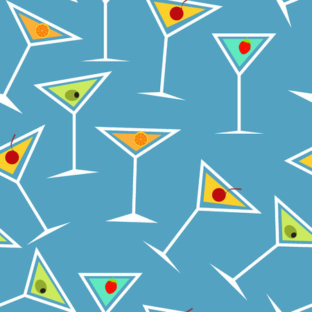 Seamless Background Pattern of Alcoholic Cocktail Glass