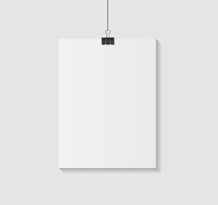 White Blank Page with Clip Vector Illustration Vector