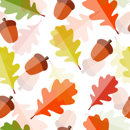 Shiny Autumn Natural Leaves Seamless Pattern Background. Vector Illustration Vector