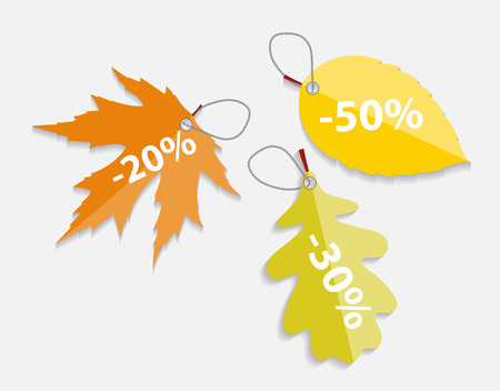 Autumn Leaves Labels. Isolated. Vector Illustration. EPS10 Vector