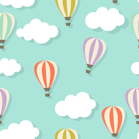 aerostat: Retro Seamless Pattern with Air Balloons Vector Illustration