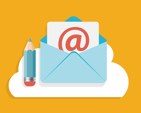 input output: Flat Design Concept Email Write Icon