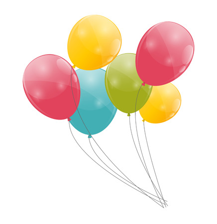 balloon background: Color Glossy Balloons Background  Illustration