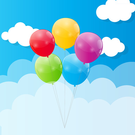 blu: Color Glossy Balloons Against Blu Sky Background