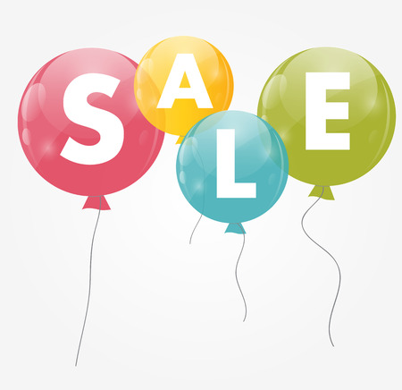 Color Glossy Balloons Sale Concept of Discount. Vector Illustrat Vector