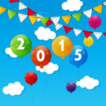 illustrati: Color Glossy Balloons 2015 New Year Background Vector Illustrati