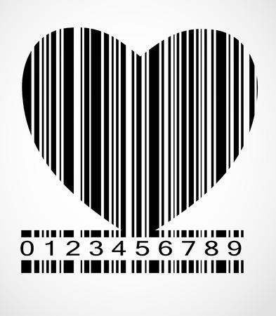 Black Barcode Heart  Image Vector Illustration. EPS10 Vector
