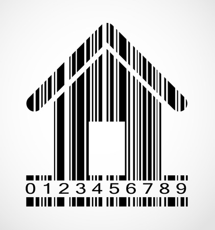 Black Barcode Home  Image Vector Illustration. EPS10 Vector