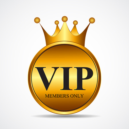 Vector VIP Members Only Gold Sign, Label Template. EPS10 Vector