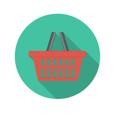 shopping cart button: Flat Design Concept Shopping Glossy Vector Illustration With Long Shadow. Illustration