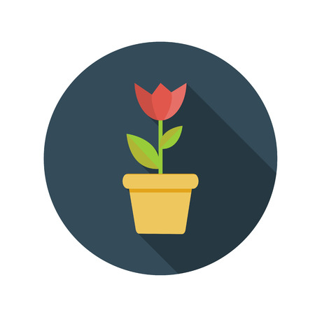 flower concept: Flat Design Concept Flower in Pot Vector Illustration With Long