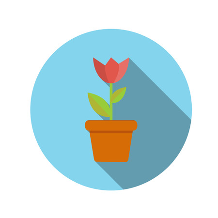 managment: Flat Design Concept Flower in Pot Vector Illustration With Long Shadow.