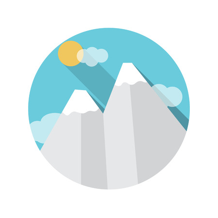 managment: Flat Design Concept Mountains Vector Illustration With Long Shadow.