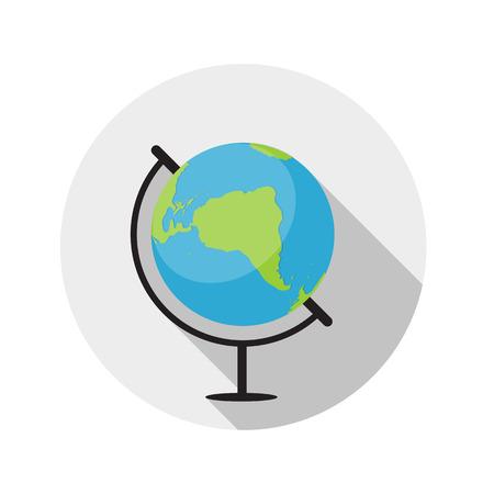 sha: Flat Design Concept Globe Icon Vector Illustration With Long Sha