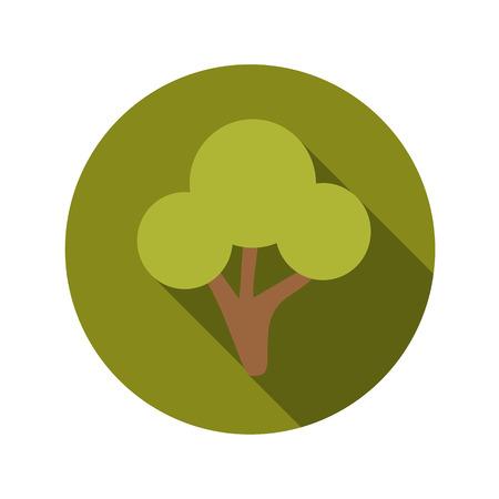 sha: Flat Design Concept Green Tree Vector Illustration With Long Sha Illustration