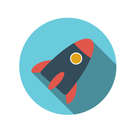 Flat Design Concept Rocket Vector Illustration With Long Shadow.  Vector