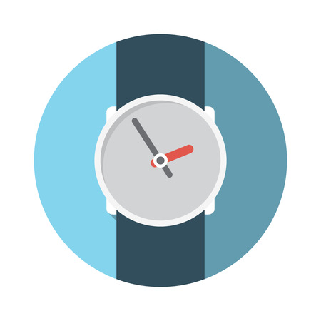 sha: Flat Design Concept Wristwatch Vector Illustration With Long Sha