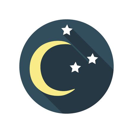 ead: Flat Design Concept East Moon with Stars Vector Illustration Wit