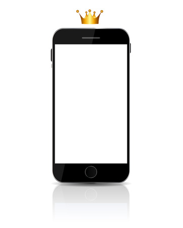 New Realistic mobile phone With White Screen.  Vector