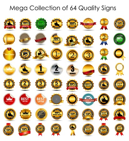 Mega Collection Set of 64  Quality Label Signs. Vector Illustrat