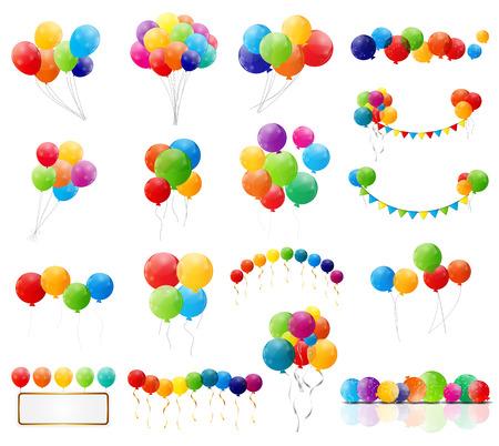 Color Glossy Balloons Mega Set Vector Illustration  イラスト・ベクター素材