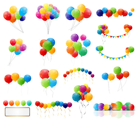 Color Glossy Balloons Mega Set Vector Illustration Ilustrace