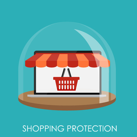 Shopping Protection Flat Concept for Mobile Apps Vector