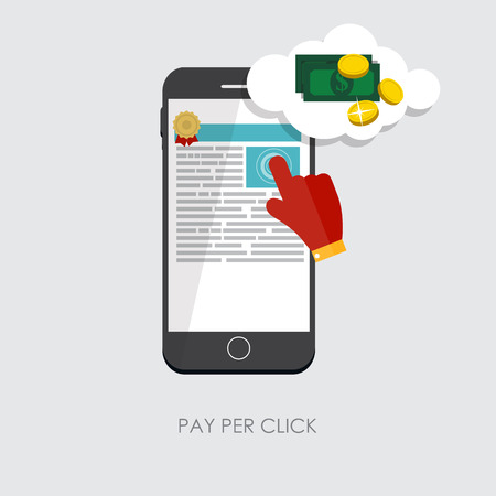 Pay Per Click Flat Concept for Web Marketing. Vector Illustration. EPS10
