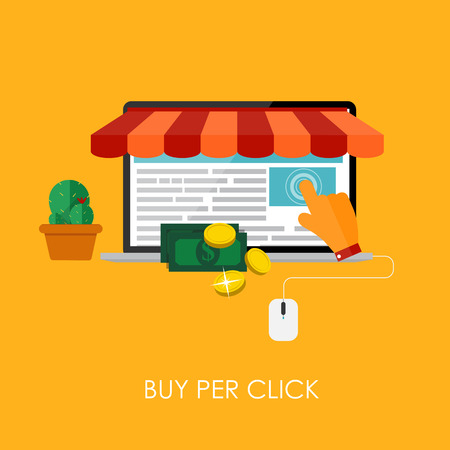 bue: Online Shopping Bue Per Click Flat Concept for Mobile Apps. EPS10 Illustration