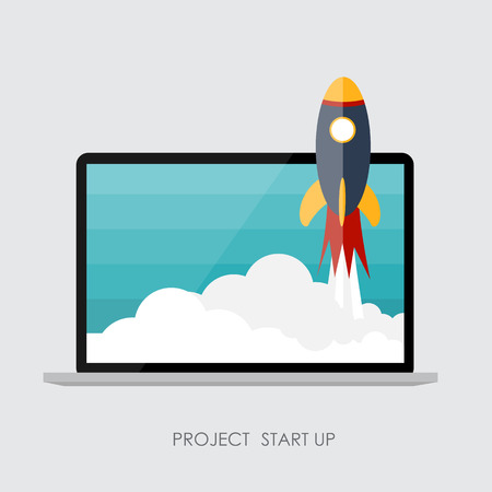 Quick Start Up Flat Concept Vector Illustration. EPS10