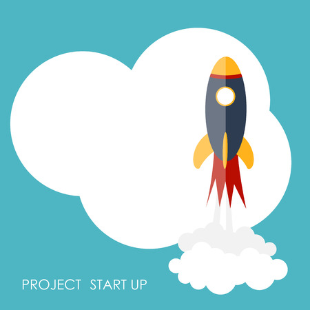cartoon rocket: Quick Start Up Flat Concept Vector Illustration EPS10