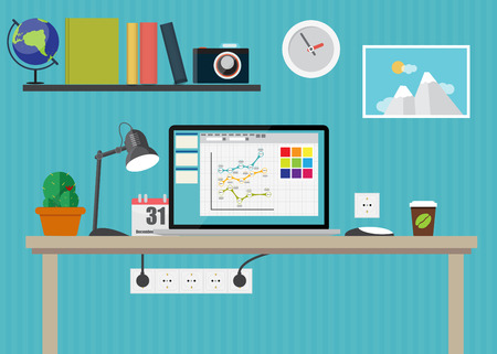 working place: Working Place Modern Office Interior Flat Design Vector Illustration EPS10
