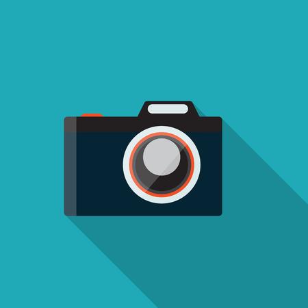 managment: Flat Design Concept Camera Vector Illustration With Long Shadow. Illustration