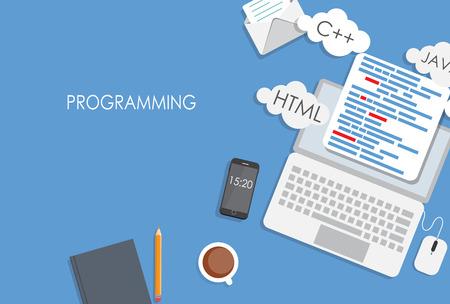 software development: Programming Coding Flat Concept Vector Illustration Illustration