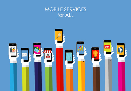 internet shopping: Mobile Services for All  Flat Concept for Web Marketing. Vector Illustration Illustration